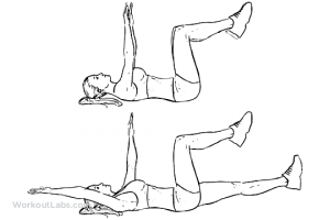 Illustration of the dead bug exercise, strength training for skiing