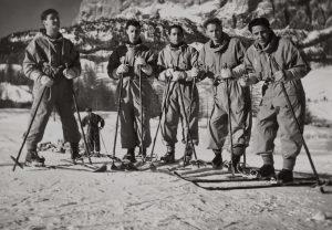 B&W photo of skiiers