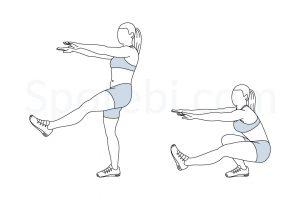 Illustration of the single leg squat exercise, strength training for skiing